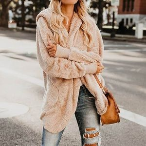 Faux Fur Cozy Taupe/Tan Hooded Pocketed Cardigan